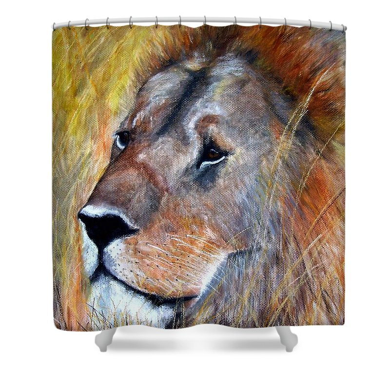 Lion Shower Curtain featuring the painting leo by Frances Marino