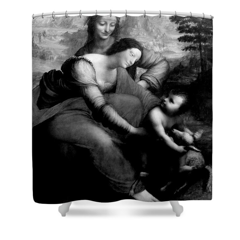 The Virgin And Chid With St. Anne By Leonardo Da Vicci Shower Curtain featuring the photograph The Virgin And Chid With St. Anne by Win Naing