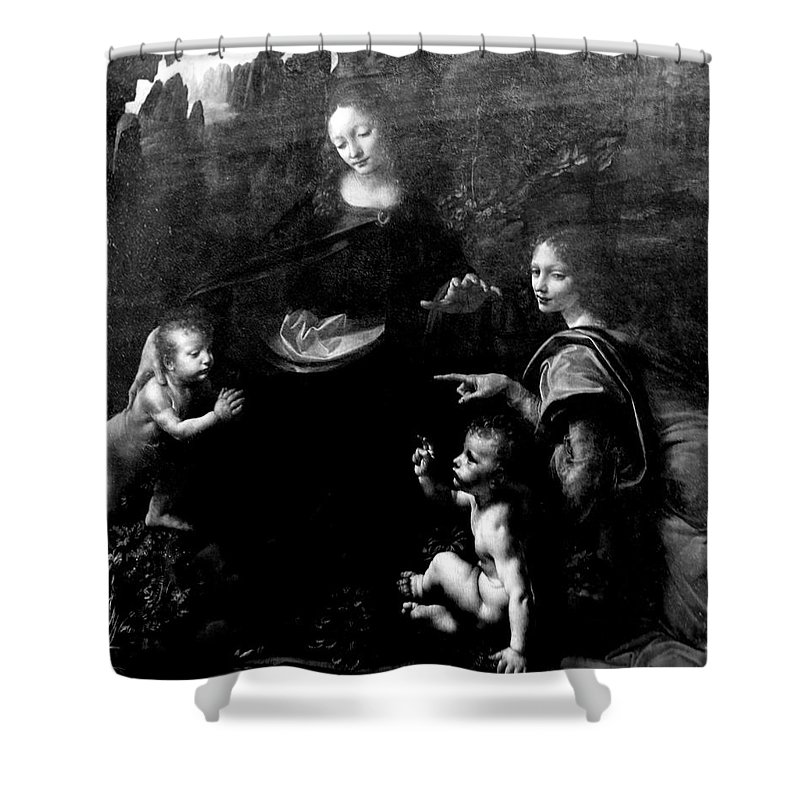 Virgin Of The Rocks By Leonardo Da Vicci Shower Curtain featuring the photograph Virgin Of The Rocks by Win Naing