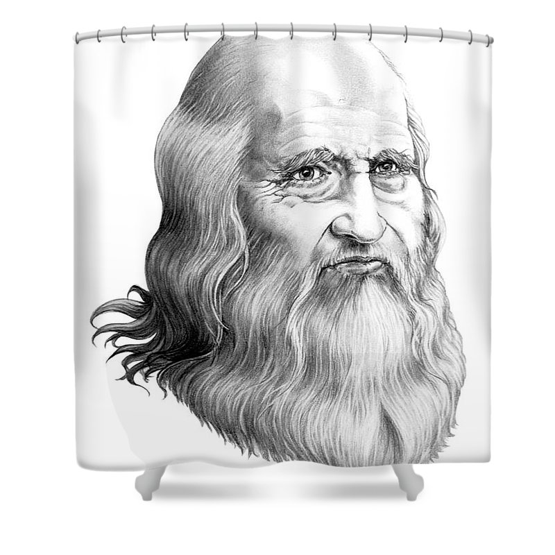 Famous Person Shower Curtain featuring the drawing Leonardo Da Vinci by Murphy Elliott