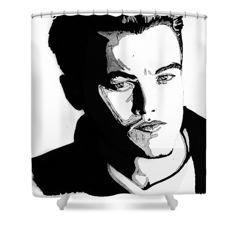 Portrait Shower Curtain featuring the mixed media Leonardo Dicaprio Portrait by Alban Dizdari