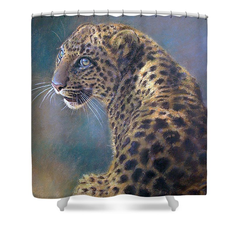 Cats Shower Curtain featuring the pastel Leopard by Iliyan Bozhanov