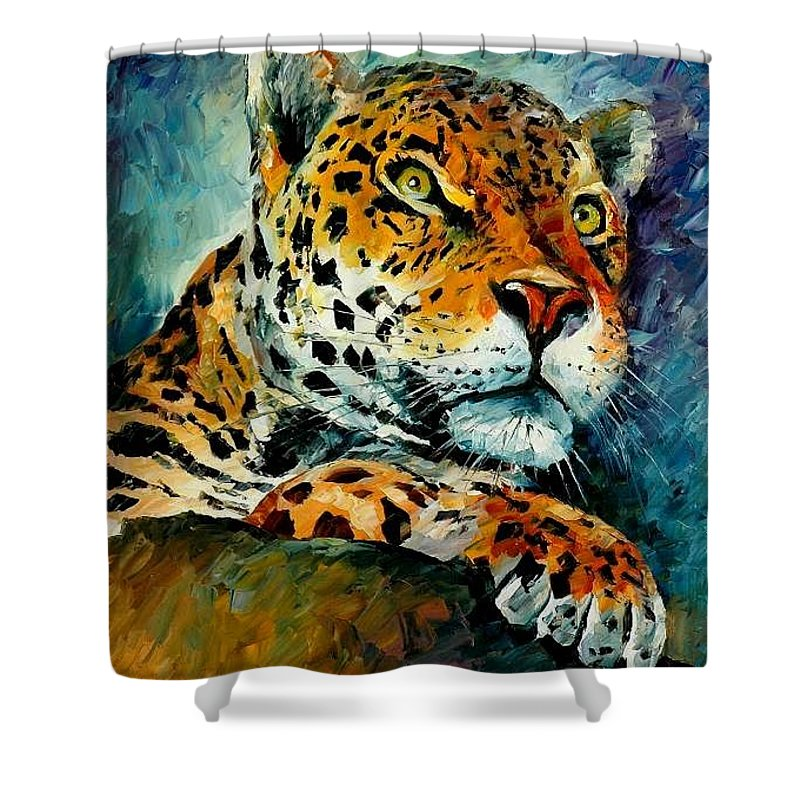 Animals Shower Curtain featuring the painting Leopard by Leonid Afremov