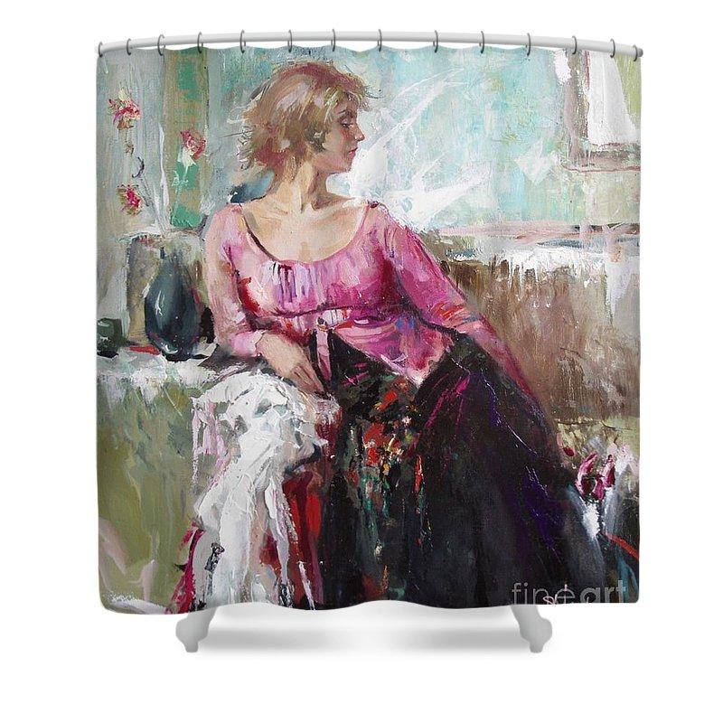 Ignatenko Shower Curtain featuring the painting Lera by Sergey Ignatenko