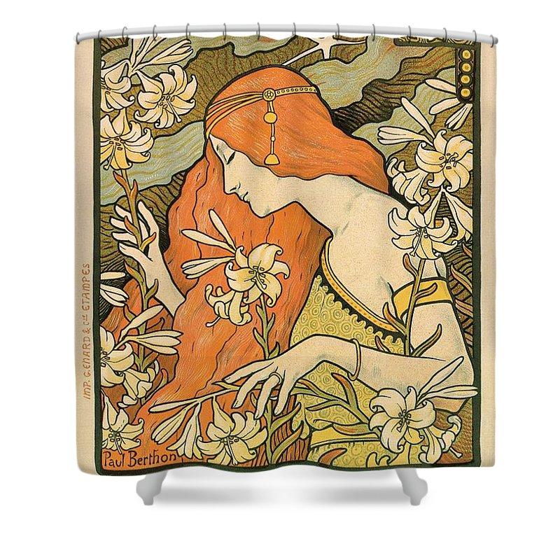 L\u0027ermitage , Alphonse Mucha , Art Nouveau Poster Shower Curtain