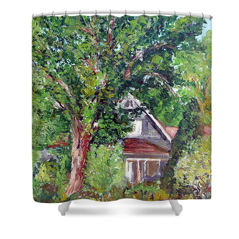 Ralph\'s House Shower Curtain featuring the painting Lesher Homestead Boulder Co by Tom Roderick