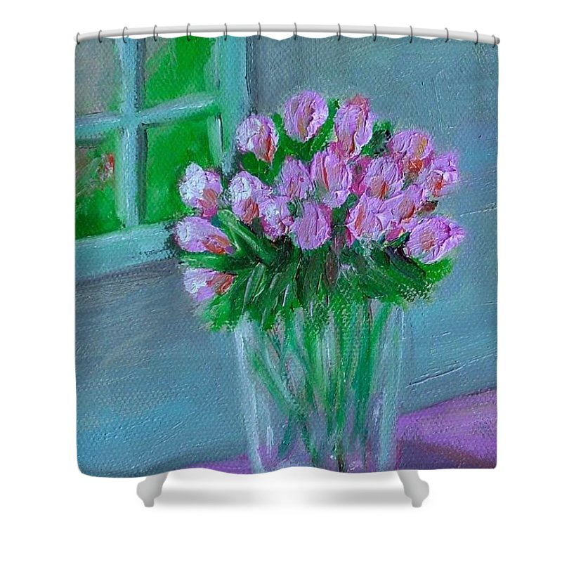 Rose Shower Curtain featuring the painting Leslie's Roses by Laurie Morgan
