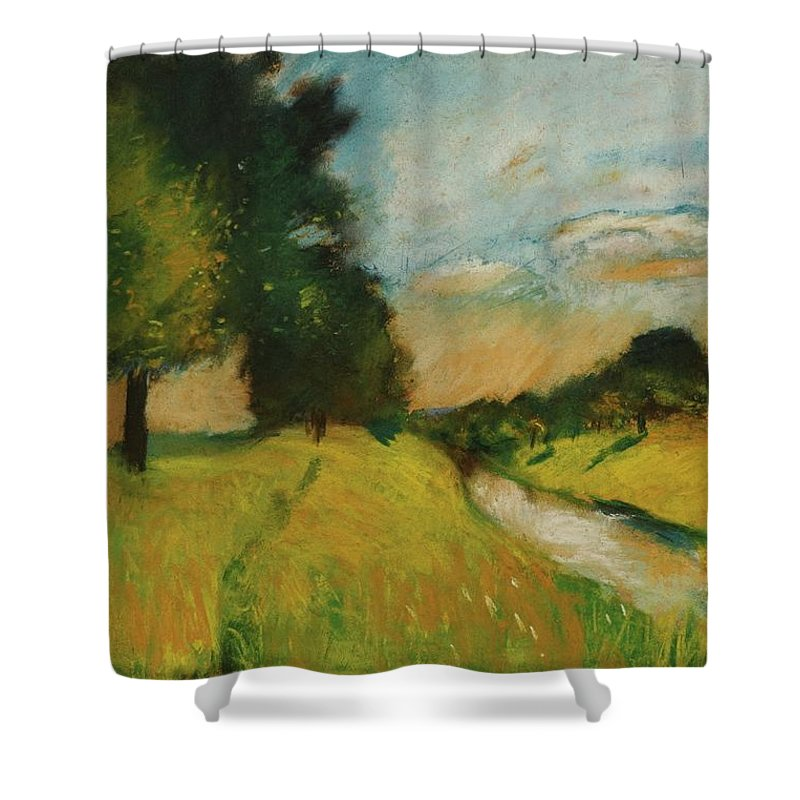 Lesser Ury 1861 - 1931 Flusslandschaft Shower Curtain featuring the painting Lesser Ury by MotionAge Designs