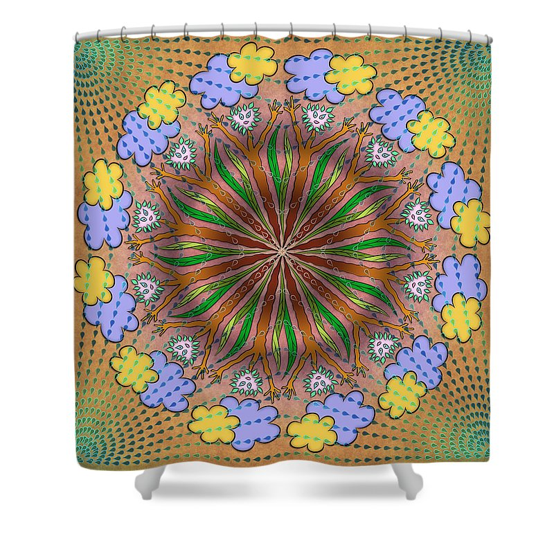 Whimsical Mandalas Shower Curtain featuring the digital art Let It Rain by Becky Titus