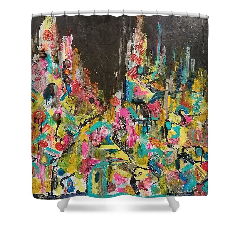 Shower Curtain featuring the mixed media Let Me Stand Next To Your Fire by Euzhan Sims