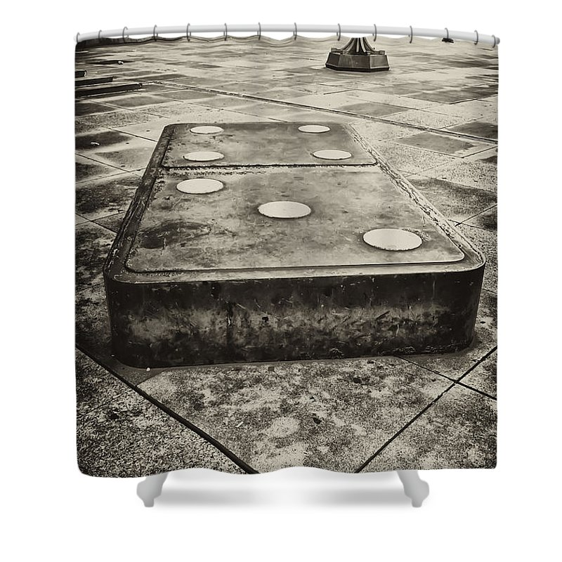 Domino Shower Curtain featuring the photograph Let The Domino's Fall by Bill Cannon