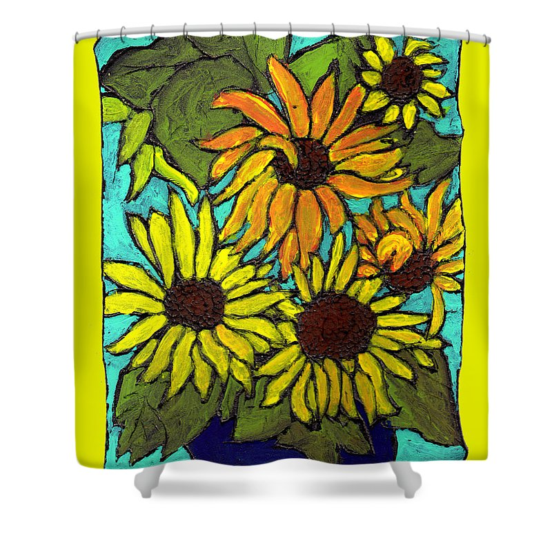 Yellow Shower Curtain featuring the painting Let The Sunshine In by Wayne Potrafka