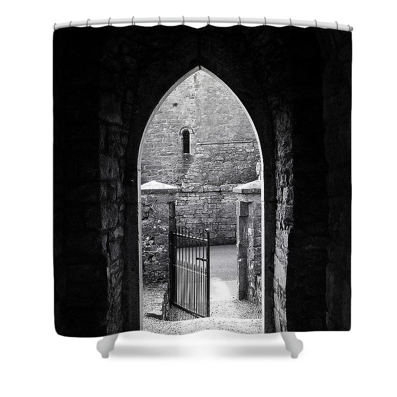 Irish Shower Curtain featuring the photograph Let There Be Light Cong Church And Abbey Cong Ireland by Teresa Mucha