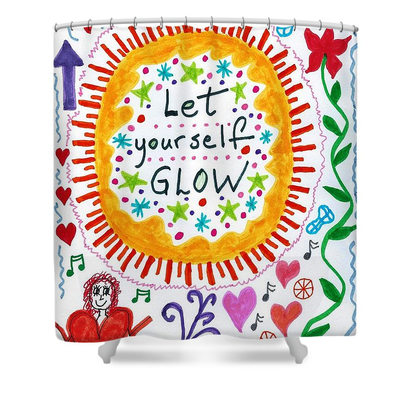 Doodle Art Shower Curtain featuring the drawing Let Yourself Glow by Susan Schanerman