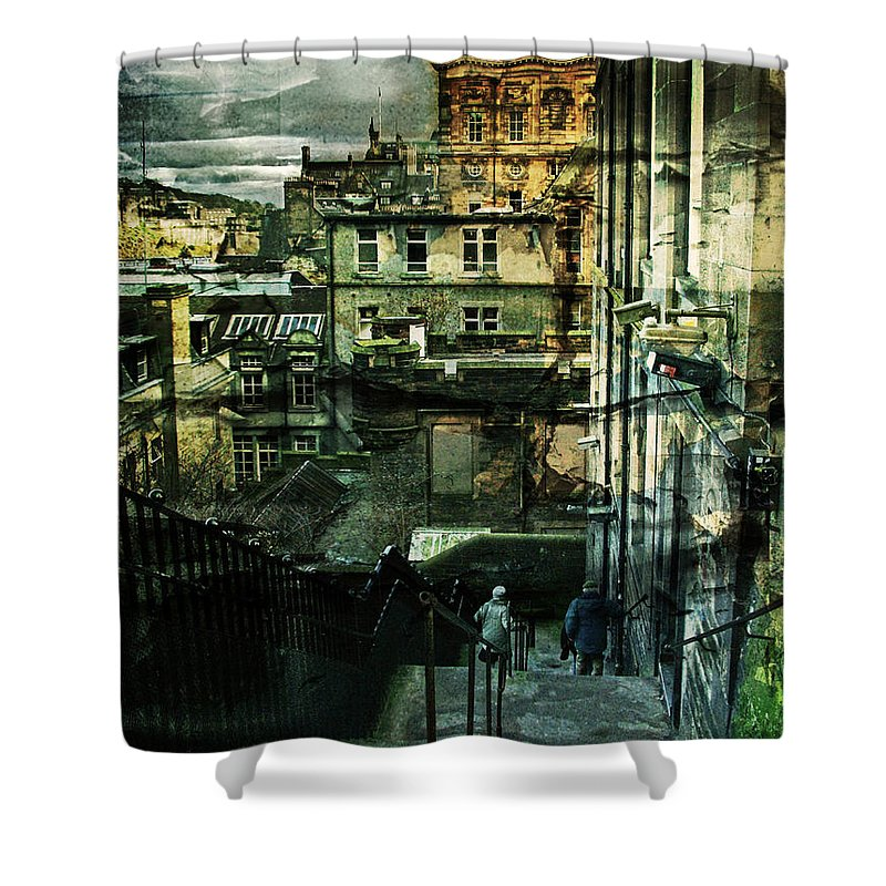 Architecture Shower Curtain featuring the photograph Lets Go Down Together by Dorit Fuhg
