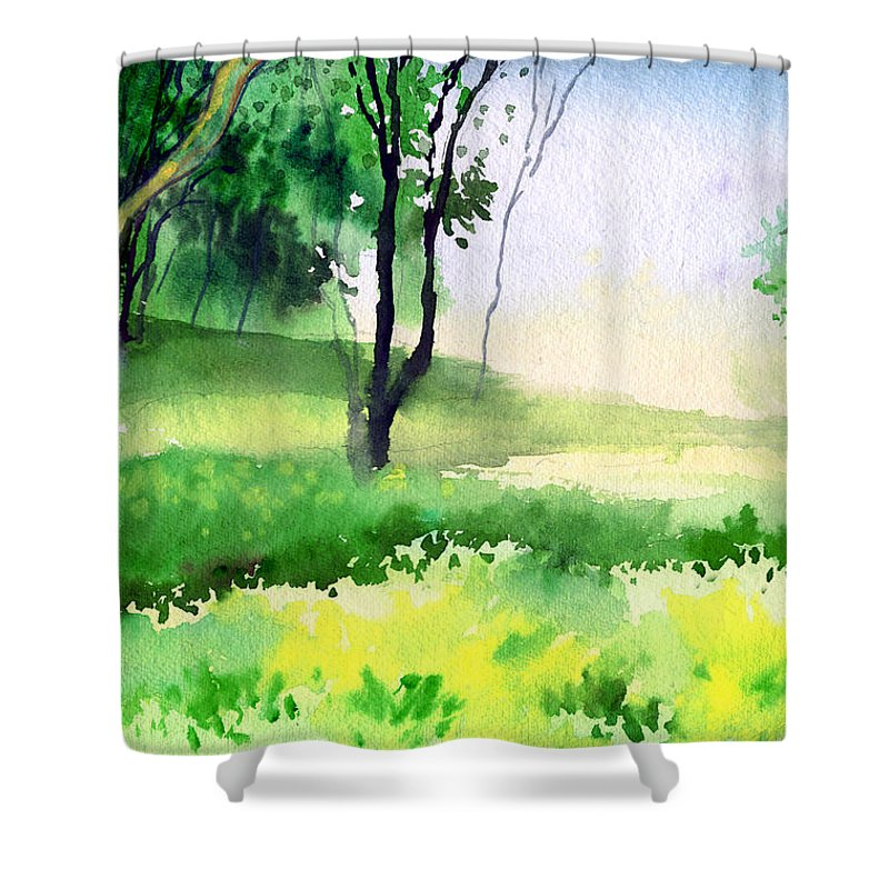 Watercolor Shower Curtain featuring the painting Let's Go For A Walk by Anil Nene