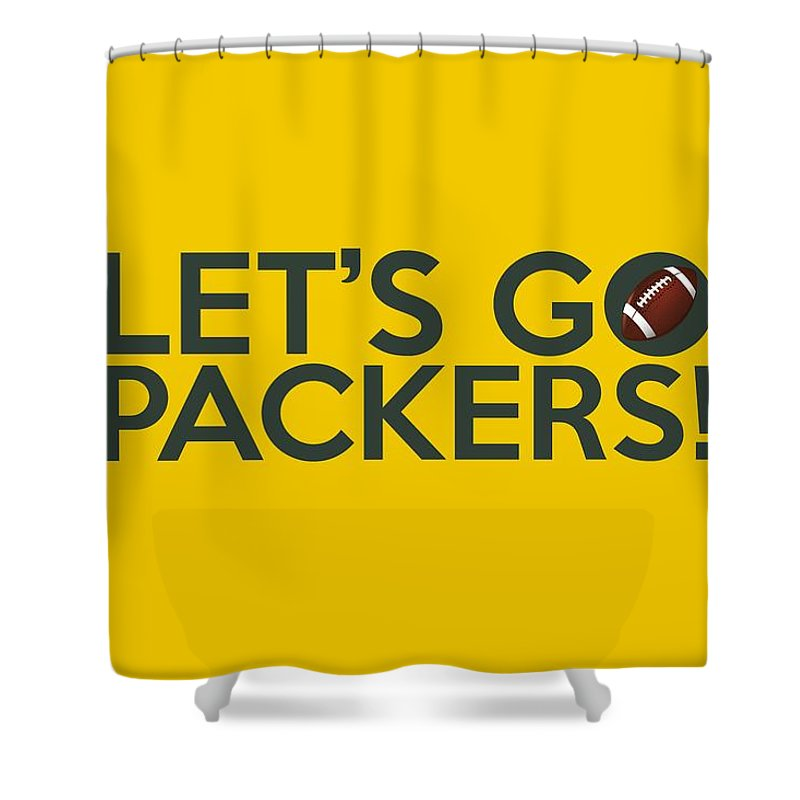 Green Bay Packers Shower Curtain Featuring The Painting Lets Go By Florian Rodarte