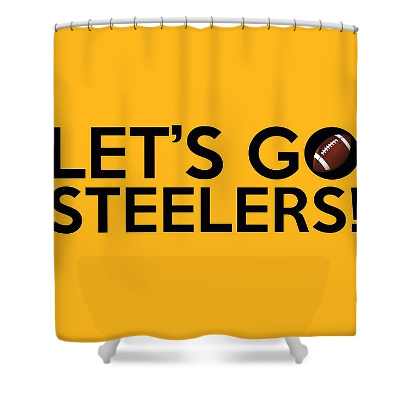 Pittsburgh Steelers Shower Curtain Featuring The Painting Lets Go By Florian Rodarte