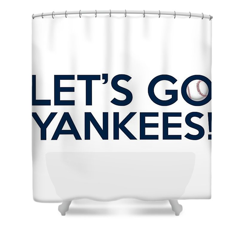 New York Yankees Shower Curtain Featuring The Painting Lets Go By Florian Rodarte