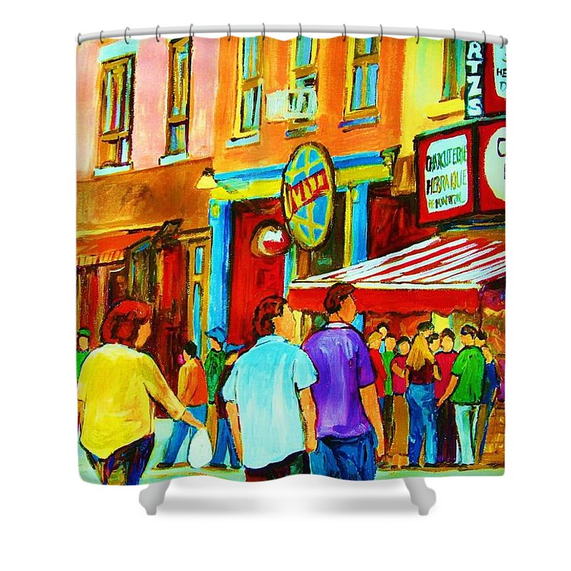 Cityscape Shower Curtain featuring the painting Lets Meet For Lunch by Carole Spandau