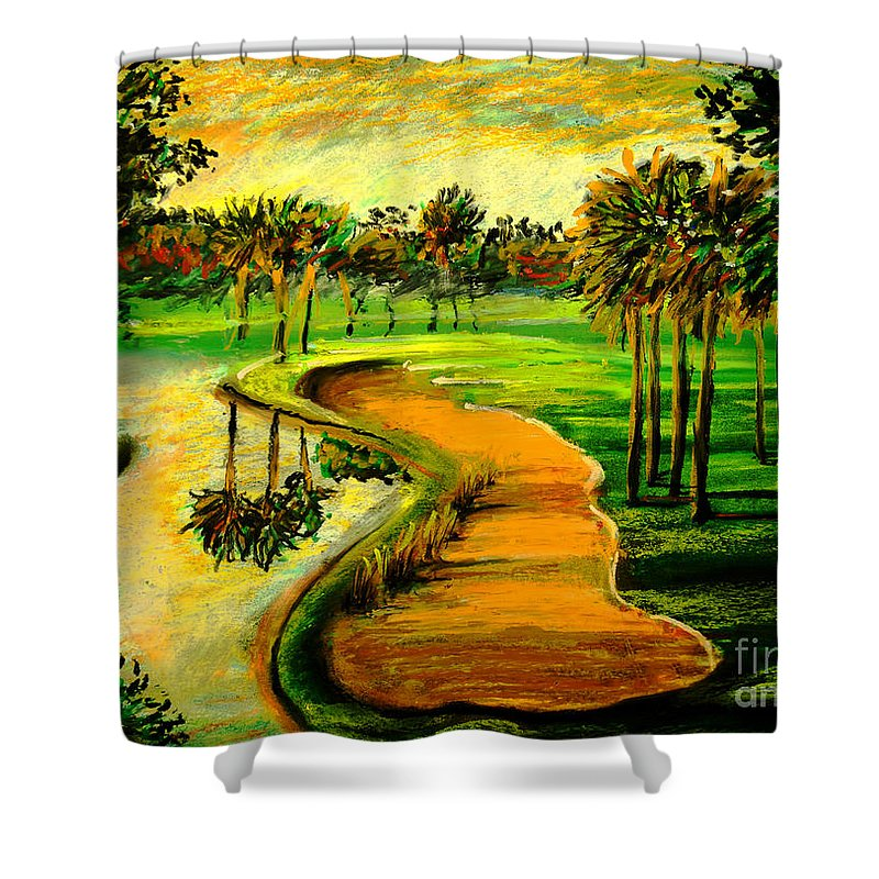 Golf Course Shower Curtain featuring the painting Let's Play Golf by Patricia L Davidson