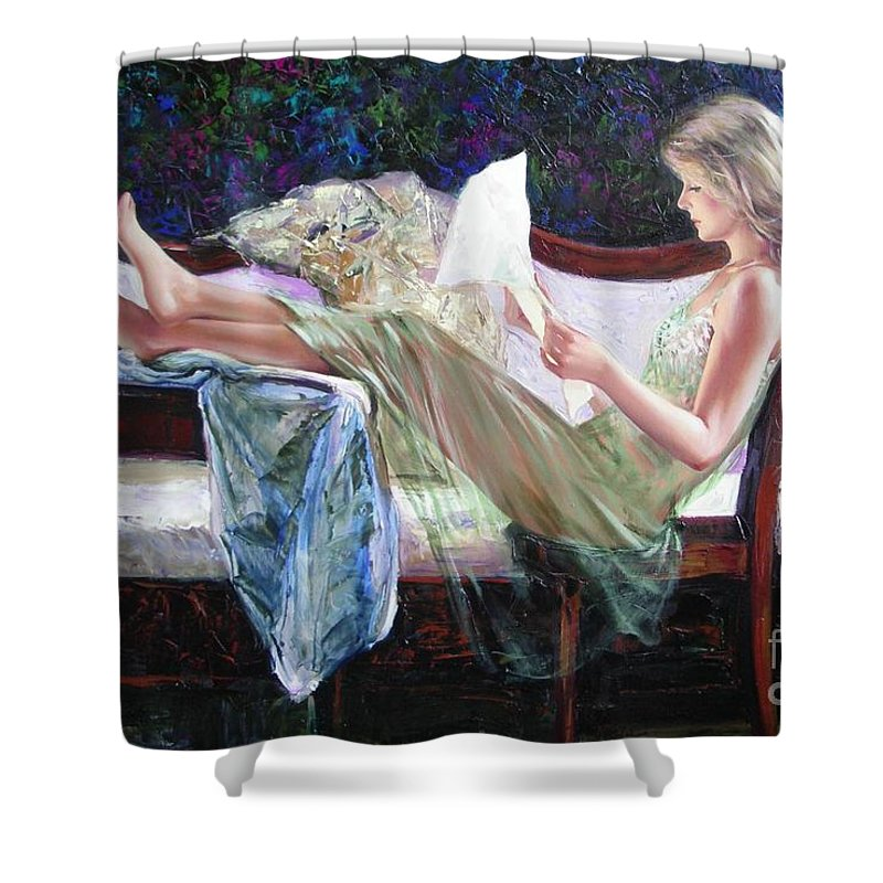 Figurative Shower Curtain featuring the painting Letter From Him by Sergey Ignatenko