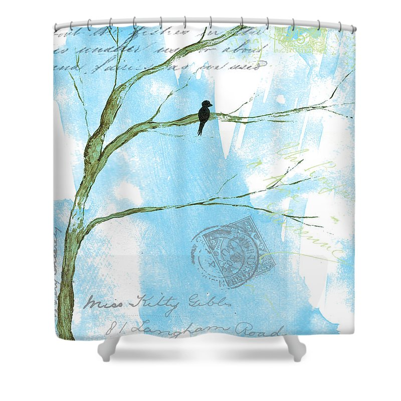 Mixed Media Shower Curtain featuring the painting Letters From Home by Itaya Lightbourne