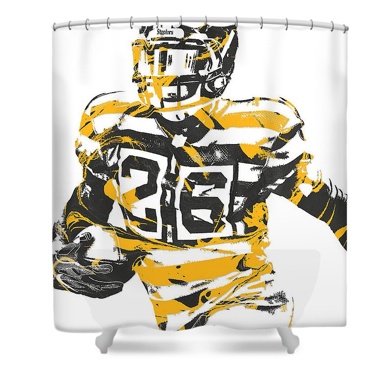 Leveon Bell Shower Curtain Featuring The Mixed Media Pittsburgh Steelers Pixel Art 21 By