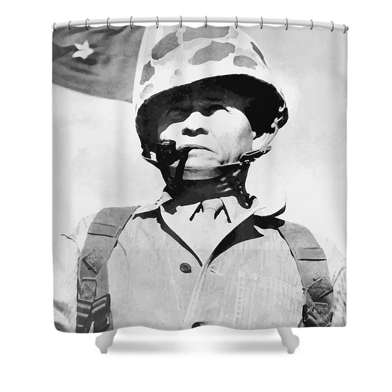 Chesty Puller Shower Curtain featuring the painting Lewis Chesty Puller by War Is Hell Store
