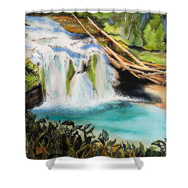 Water Shower Curtain featuring the painting Lewis River Falls by Karen Stark