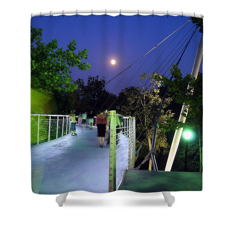 Liberty Bridge Shower Curtain featuring the photograph Liberty Bridge At Night Greenville South Carolina by Flavia Westerwelle