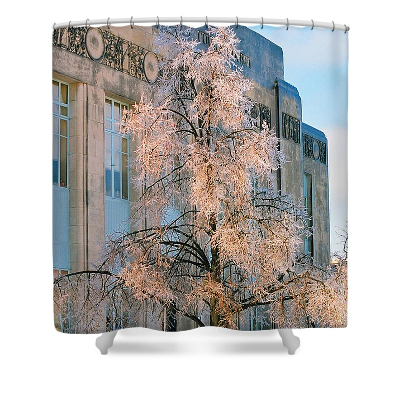 Architecture Shower Curtain featuring the photograph Liberty Court House by Steve Karol