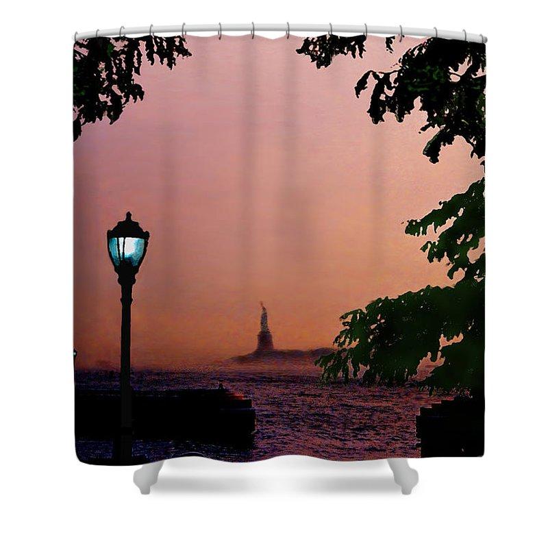 Seascape Shower Curtain featuring the digital art Liberty Fading Seascape by Steve Karol