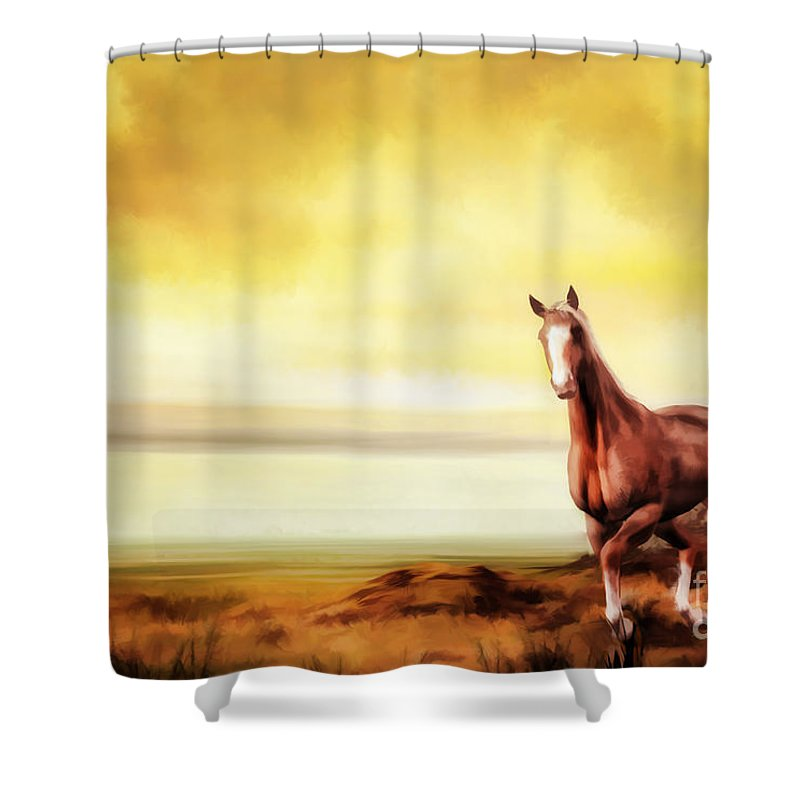 Horse Shower Curtain featuring the digital art Liberty by John Edwards