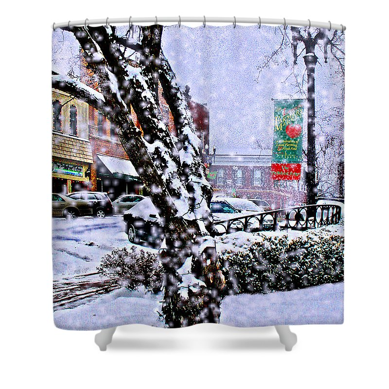 Landscape Shower Curtain featuring the photograph Liberty Square In Winter by Steve Karol