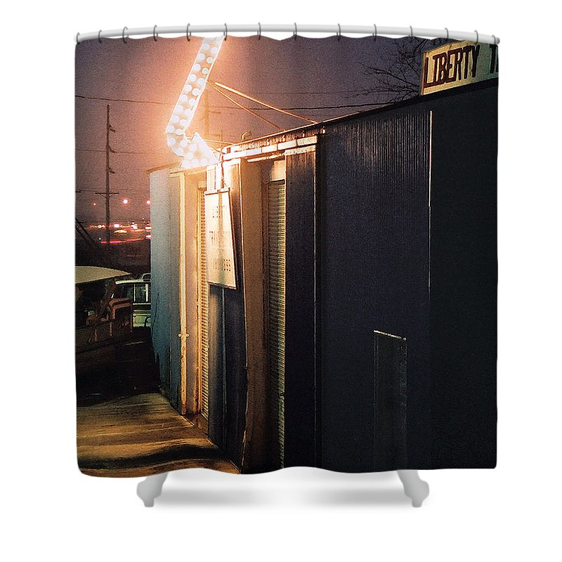 Night Scene Shower Curtain featuring the photograph Liberty by Steve Karol