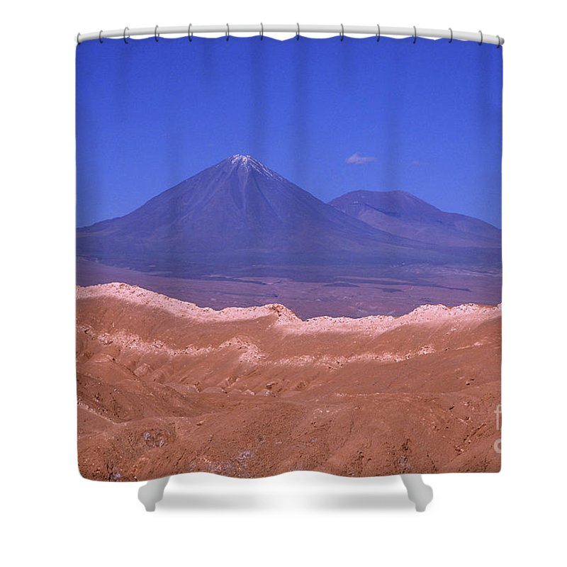 Chile Shower Curtain featuring the photograph Licancabur Volcano Seen From The Atacama Desert Chile by James Brunker