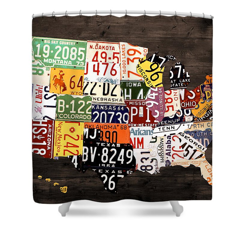 License Plate Map Of The United States Warm Colors Black Edition - Us-map-made-out-of-license-plates