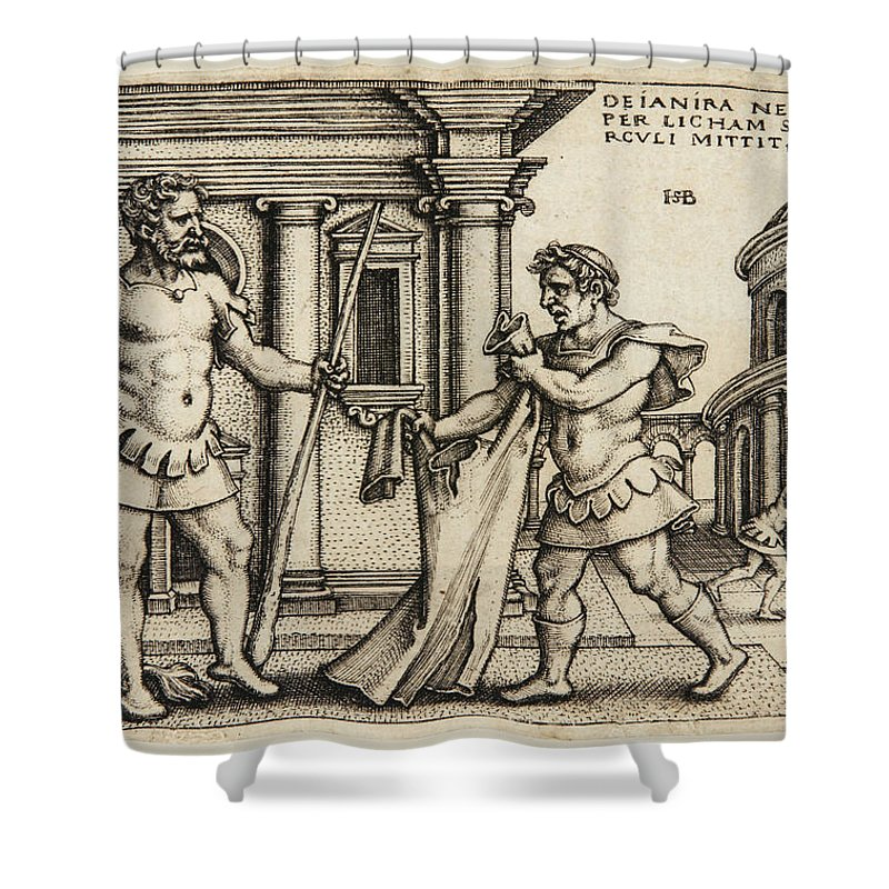 Sebald Beham Shower Curtain featuring the drawing Lichas Bringing The Garment Of Nessus To Hercules by Sebald Beham
