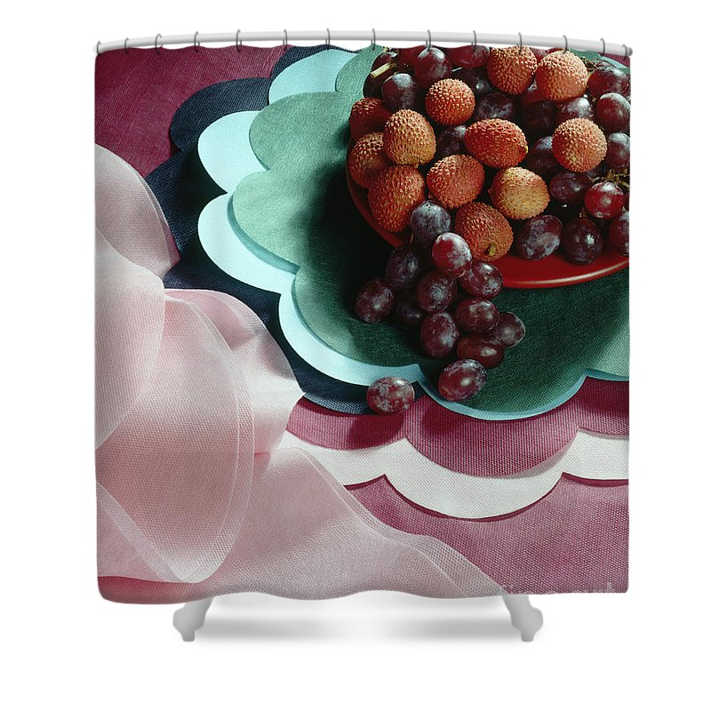 Arty Shower Curtain featuring the photograph Lichees And Grapes by Stefania Levi