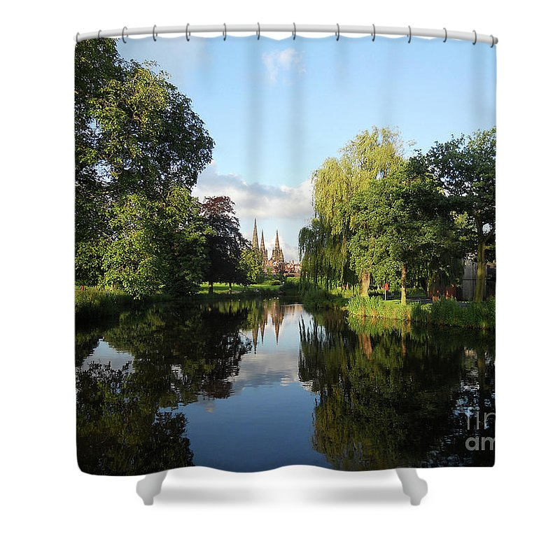Lichfield Shower Curtain featuring the photograph Lichfield Cathedral Reflectons by Neil Finnemore