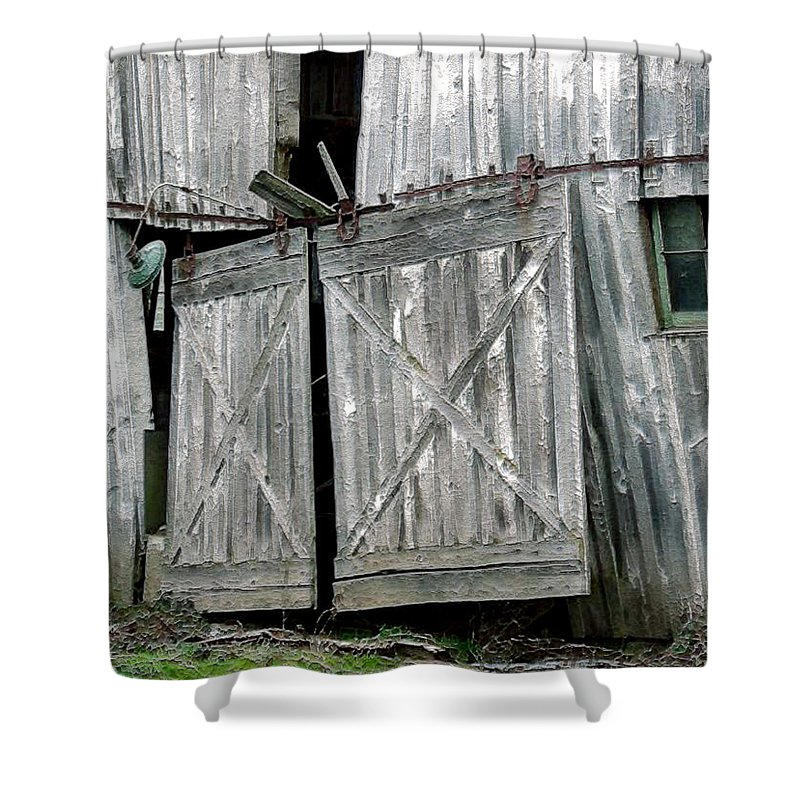 Barn Shower Curtain featuring the digital art Life Among The Ruins by RC DeWinter