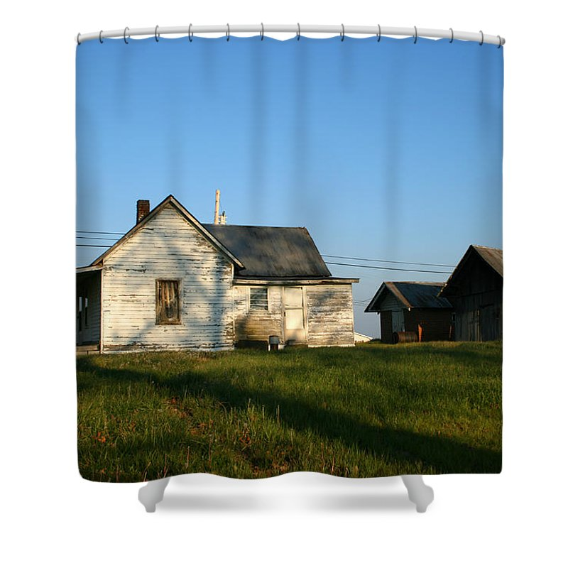 Old House Barn Life Past Age Forgotten Forget Time Left Leave Blue Green White Kentucky Ky Country Shower Curtain featuring the photograph Life Behind by Andrei Shliakhau