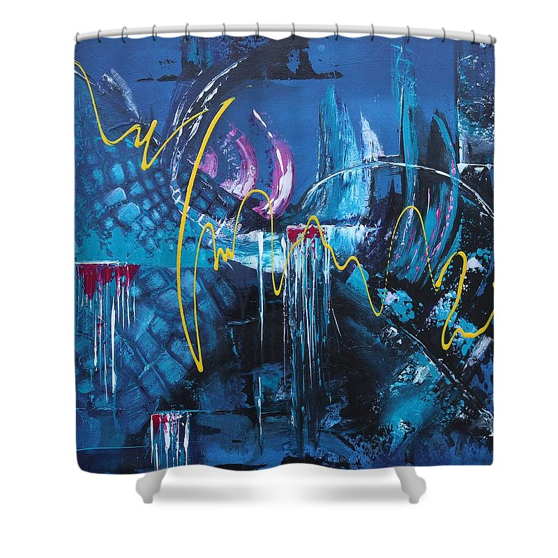 Abstract Shower Curtain featuring the painting Life Energy by Galina Zimmatore