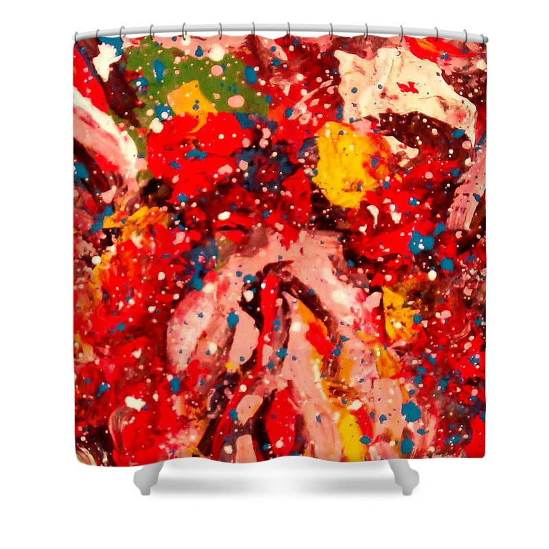 Abstract Shower Curtain featuring the painting Life Force by Natalie Holland