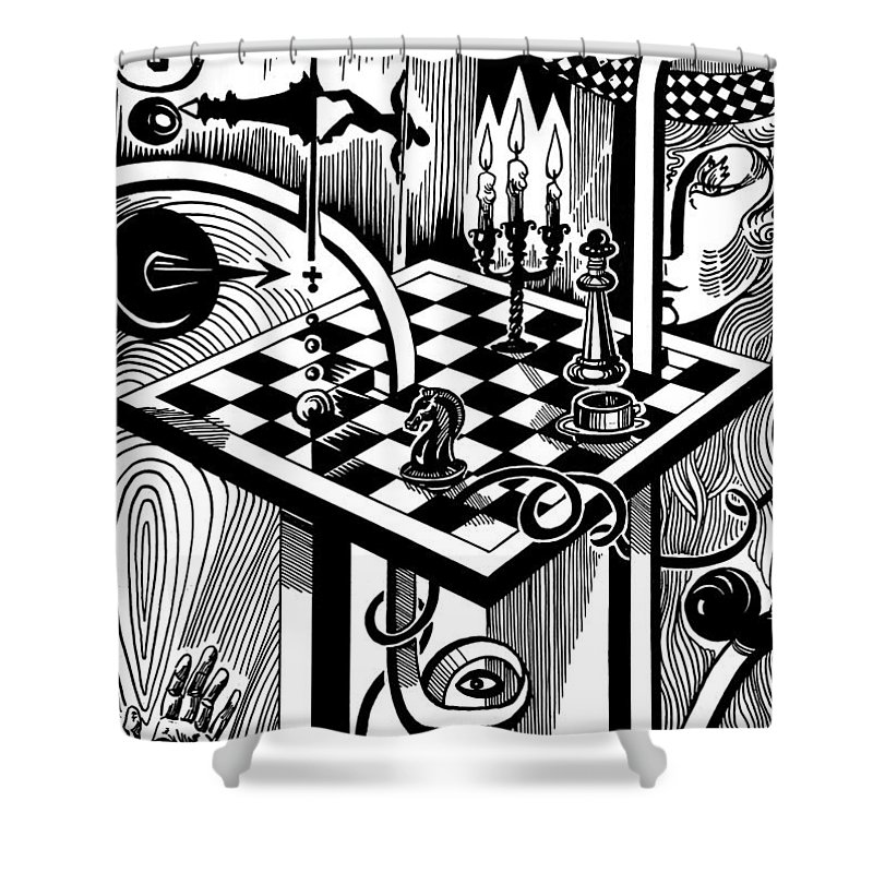 Inga Vereshchagina Shower Curtain featuring the drawing Life Game by Inga Vereshchagina