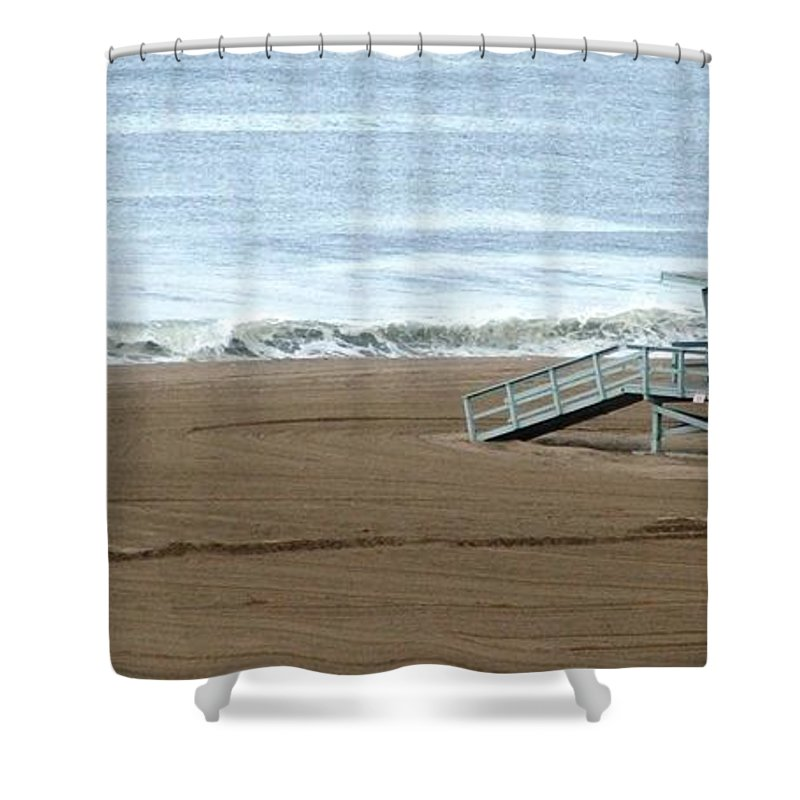 Beach Shower Curtain featuring the photograph Life Guard Stand - Color by Shari Chavira