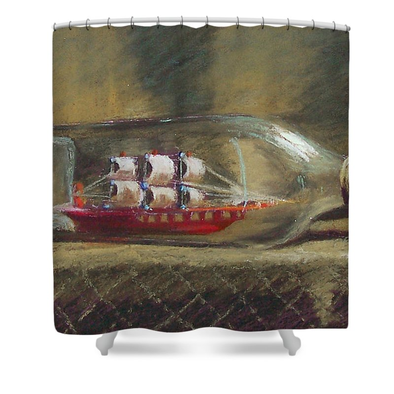 Ship In A Bottle Shower Curtain featuring the painting Life In A Bottle by Laurie Paci