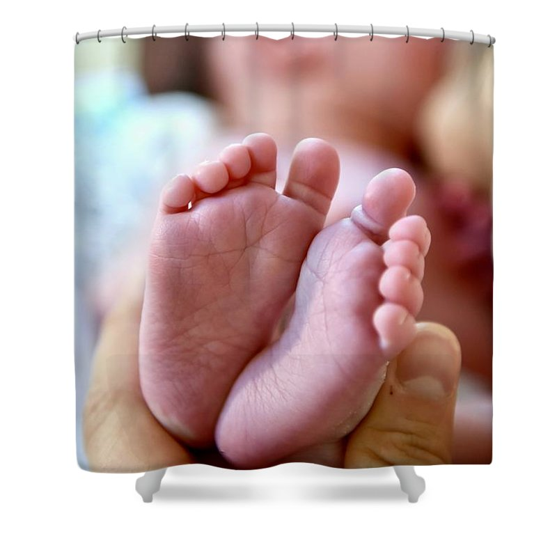 Babies Feet Shower Curtain featuring the photograph Life In My Hand by Jeramey Lende