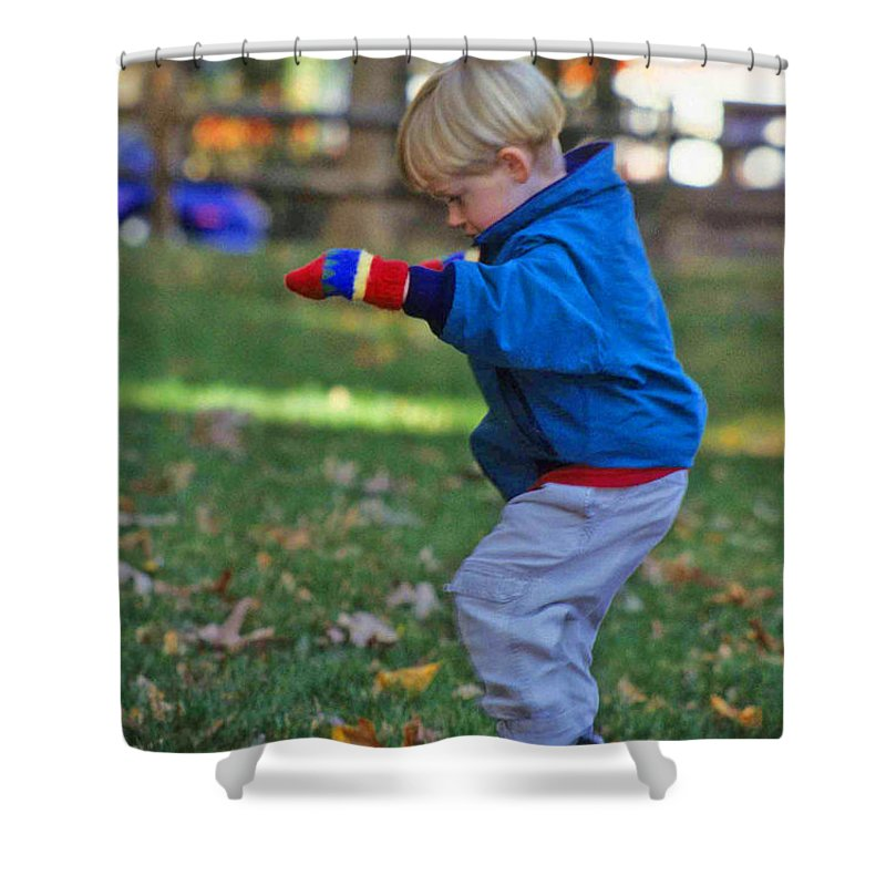 Boy Balancing Shower Curtain featuring the photograph Life In Perfect Balance by Laurie Paci
